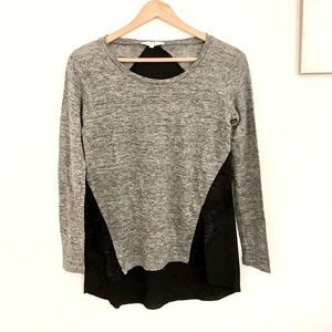 Sandro Linen Lace Gray Black Long Sleeve Blouse